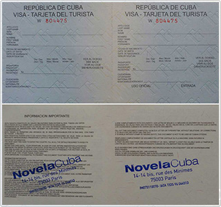 Tourist Card (VISA) for Cuba - Specimen